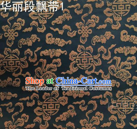 Traditional Asian Chinese Handmade Embroidery Ribbons Silk Satin Tang Suit Black Fabric, Nanjing Brocade Ancient Costume Hanfu Cheongsam Cloth Material