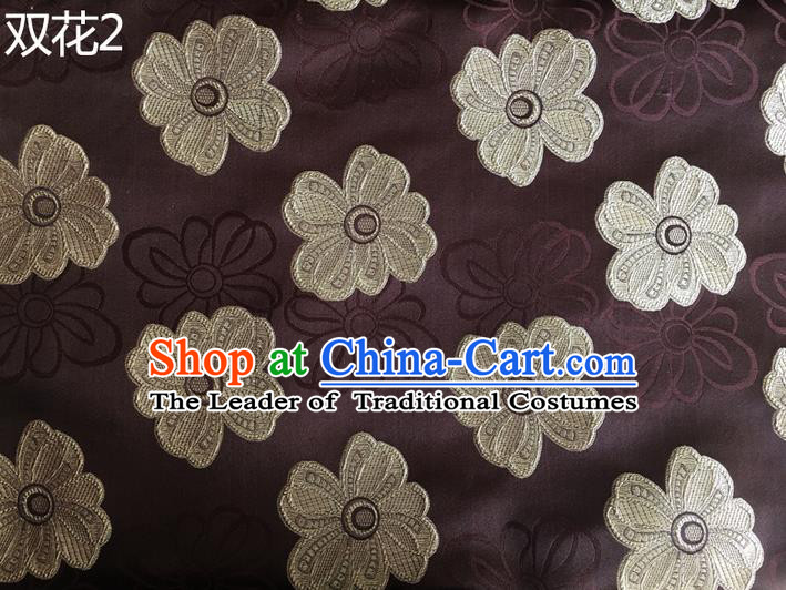 Traditional Asian Chinese Handmade Embroidery Flowers Silk Satin Tang Suit Brown Fabric Drapery, Nanjing Brocade Ancient Costume Hanfu Cheongsam Cloth Material