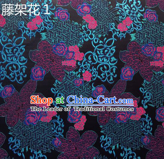 Traditional Asian Chinese Handmade Embroidery Flowers Silk Satin Tang Suit Fabric Drapery, Nanjing Brocade Ancient Costume Hanfu Cheongsam Cloth Material