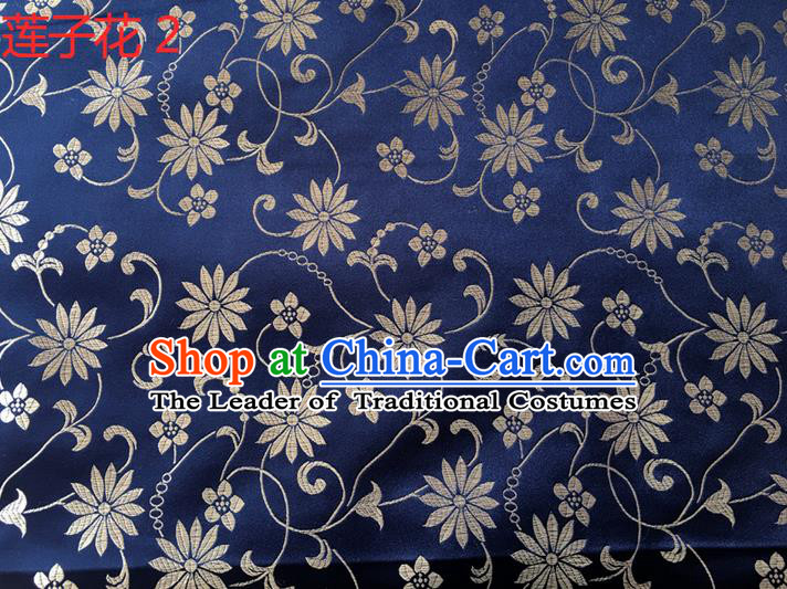 Traditional Asian Chinese Handmade Embroidery Lotus Flowers Silk Satin Tang Suit Navy Fabric Drapery, Nanjing Brocade Ancient Costume Hanfu Cheongsam Cloth Material