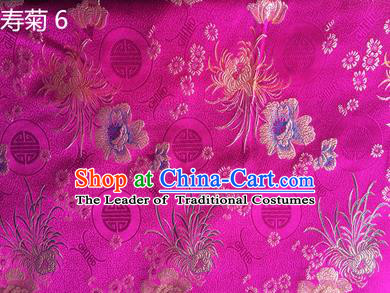 Traditional Asian Chinese Handmade Embroidery Marguerite Flowers Silk Satin Tang Suit Rosy Fabric Drapery, Nanjing Brocade Ancient Costume Hanfu Cheongsam Cloth Material