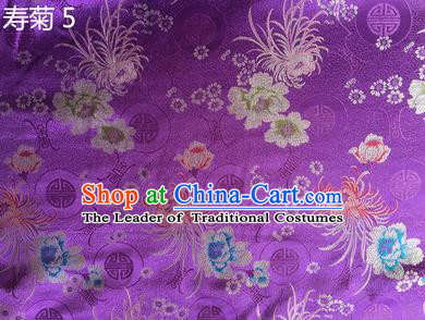 Traditional Asian Chinese Handmade Embroidery Marguerite Flowers Silk Satin Tang Suit Purple Fabric Drapery, Nanjing Brocade Ancient Costume Hanfu Cheongsam Cloth Material