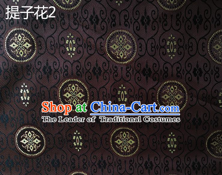 Traditional Asian Chinese Handmade Embroidery Raisins Flowers Silk Satin Tang Suit Brown Fabric Drapery, Nanjing Brocade Ancient Costume Hanfu Cheongsam Cloth Material