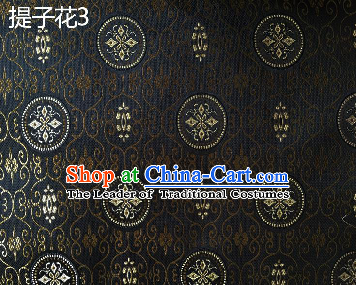 Traditional Asian Chinese Handmade Embroidery Raisins Flowers Silk Satin Tang Suit Black Fabric Drapery, Nanjing Brocade Ancient Costume Hanfu Cheongsam Cloth Material