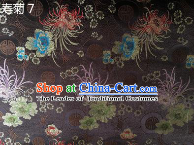 Traditional Asian Chinese Handmade Embroidery Marguerite Flowers Silk Satin Tang Suit Deep Grey Fabric Drapery, Nanjing Brocade Ancient Costume Hanfu Cheongsam Cloth Material