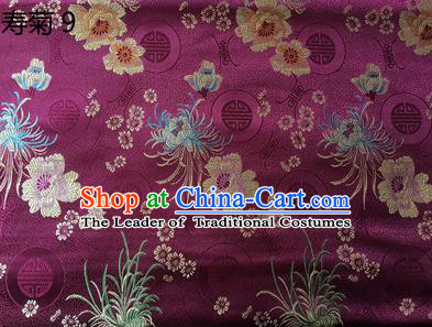 Traditional Asian Chinese Handmade Embroidery Marguerite Flowers Silk Satin Tang Suit Deep Purple Fabric Drapery, Nanjing Brocade Ancient Costume Hanfu Cheongsam Cloth Material