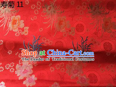 Traditional Asian Chinese Handmade Embroidery Marguerite Flowers Silk Satin Tang Suit Red Fabric Drapery, Nanjing Brocade Ancient Costume Hanfu Cheongsam Cloth Material