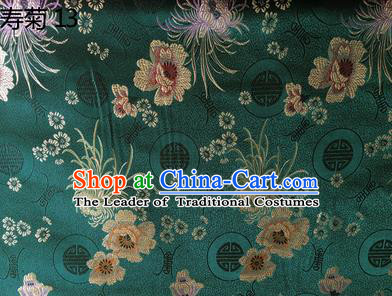 Traditional Asian Chinese Handmade Embroidery Marguerite Flowers Silk Satin Tang Suit Green Fabric Drapery, Nanjing Brocade Ancient Costume Hanfu Cheongsam Cloth Material