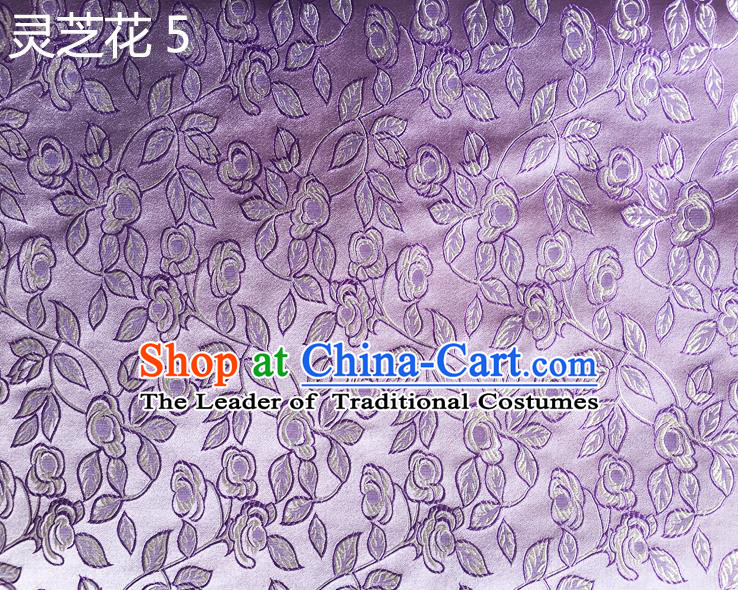 Traditional Asian Chinese Handmade Embroidery Ganoderma Flowers Silk Satin Tang Suit Purple Fabric Drapery, Nanjing Brocade Ancient Costume Hanfu Cheongsam Cloth Material