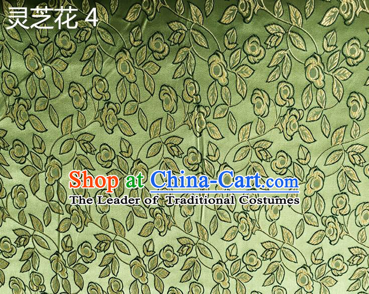Traditional Asian Chinese Handmade Embroidery Ganoderma Flowers Silk Satin Tang Suit Green Fabric Drapery, Nanjing Brocade Ancient Costume Hanfu Cheongsam Cloth Material