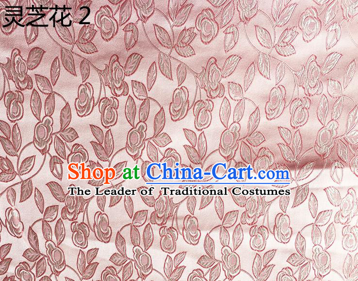 Traditional Asian Chinese Handmade Embroidery Ganoderma Flowers Silk Satin Tang Suit Pink Fabric Drapery, Nanjing Brocade Ancient Costume Hanfu Cheongsam Cloth Material