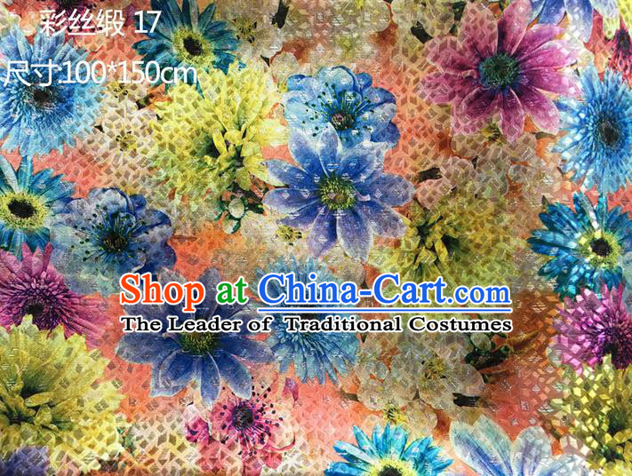 Traditional Asian Chinese Handmade Printing Blue Sunflowers Color Silk Satin Tang Suit Fabric Drapery, Nanjing Brocade Ancient Costume Hanfu Cheongsam Cloth Material