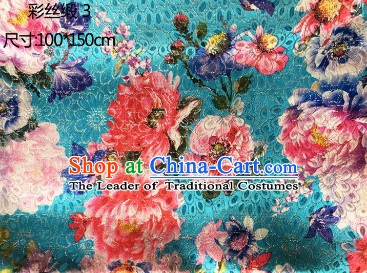 Traditional Asian Chinese Handmade Printing Peony Flowers Color Silk Satin Tang Suit Blue Fabric Drapery, Nanjing Brocade Ancient Costume Hanfu Cheongsam Cloth Material