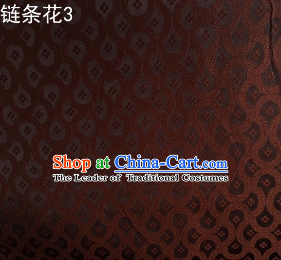 Traditional Asian Chinese Handmade Embroidery Chain Flowers Silk Satin Tang Suit Brown Fabric Drapery, Nanjing Brocade Ancient Costume Hanfu Cheongsam Cloth Material