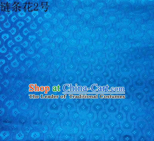 Traditional Asian Chinese Handmade Embroidery Chain Flowers Silk Satin Tang Suit Blue Fabric Drapery, Nanjing Brocade Ancient Costume Hanfu Cheongsam Cloth Material