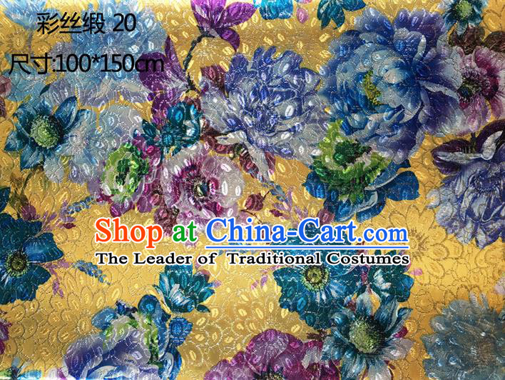 Traditional Asian Chinese Handmade Printing Peony Flowers Color Silk Satin Tang Suit Yellow Fabric Drapery, Nanjing Brocade Ancient Costume Hanfu Cheongsam Cloth Material