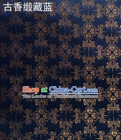 Traditional Asian Chinese Handmade Embroidery Silk Satin Tang Suit Navy Fabric Drapery, Nanjing Brocade Ancient Costume Hanfu Cheongsam Cloth Material