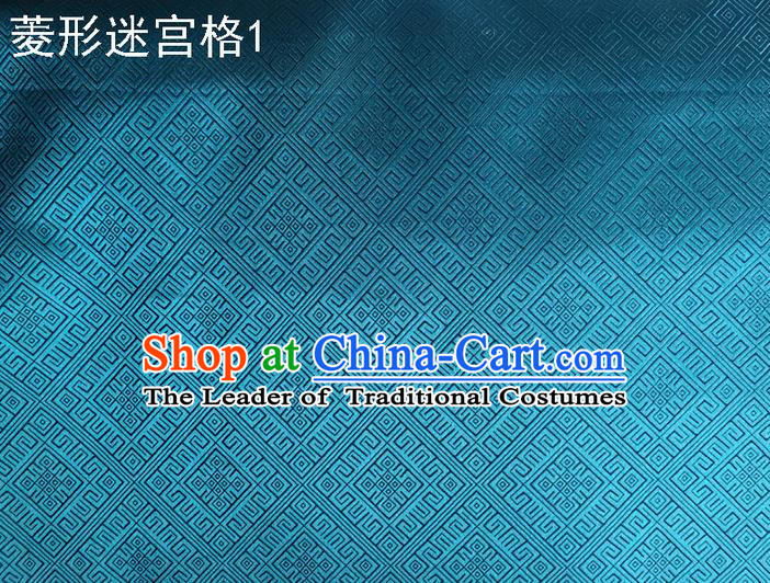 Traditional Asian Chinese Handmade Embroidery Labyrinth Pattern Silk Satin Tang Suit Blue Fabric Drapery, Nanjing Brocade Ancient Costume Hanfu Cheongsam Cloth Material