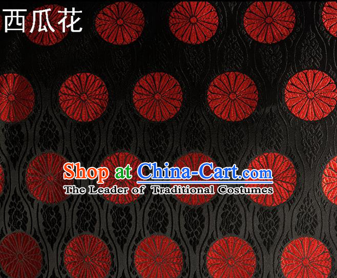 Traditional Asian Chinese Handmade Embroidery Watermelon Flowers Silk Satin Tang Suit Black Fabric Drapery, Nanjing Brocade Ancient Costume Hanfu Cheongsam Cloth Material