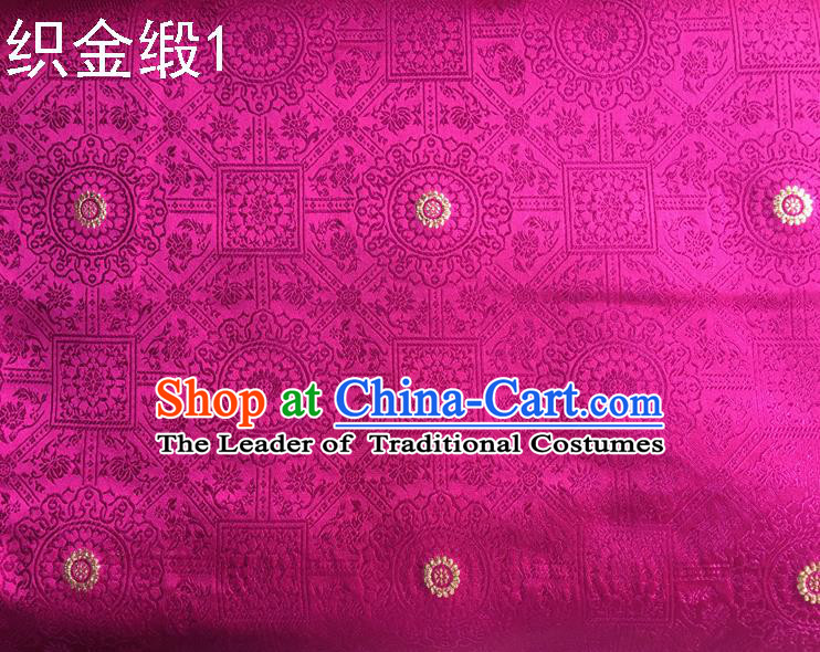 Traditional Asian Chinese Handmade Embroidery Silk Tapestry Satin Tang Suit Rosy Fabric Drapery, Nanjing Brocade Ancient Costume Hanfu Cheongsam Cloth Material
