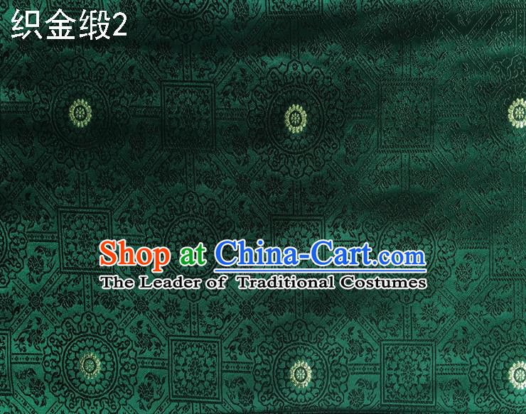 Traditional Asian Chinese Handmade Embroidery Silk Tapestry Satin Tang Suit Green Fabric Drapery, Nanjing Brocade Ancient Costume Hanfu Cheongsam Cloth Material