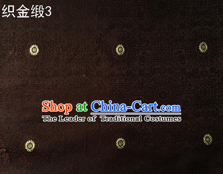 Traditional Asian Chinese Handmade Embroidery Silk Tapestry Satin Tang Suit Brown Fabric Drapery, Nanjing Brocade Ancient Costume Hanfu Cheongsam Cloth Material