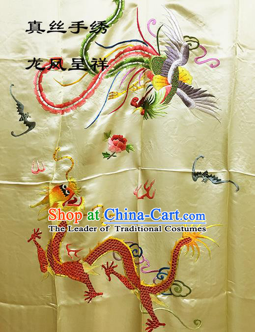 Traditional Asian Chinese Handmade Embroidery Dragon and Phoenix Quilt Cover Silk Tapestry Yellow Fabric Drapery, Top Grade Nanjing Brocade Bed Sheet Cloth Material