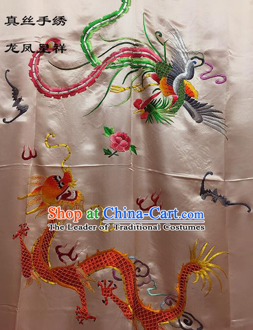 Traditional Asian Chinese Handmade Embroidery Dragon and Phoenix Quilt Cover Silk Tapestry Light Pink Fabric Drapery, Top Grade Nanjing Brocade Bed Sheet Cloth Material