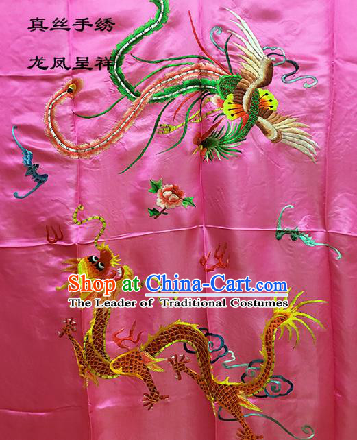 Traditional Asian Chinese Handmade Embroidery Dragon and Phoenix Quilt Cover Silk Tapestry Peach Pink Fabric Drapery, Top Grade Nanjing Brocade Bed Sheet Cloth Material