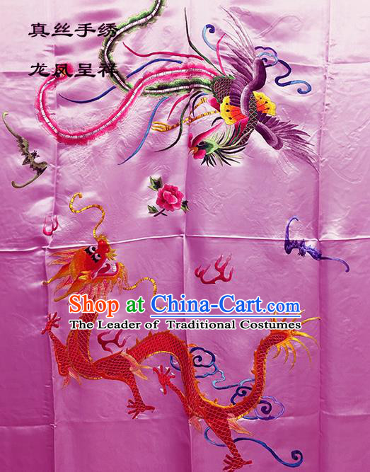 Traditional Asian Chinese Handmade Embroidery Dragon and Phoenix Quilt Cover Silk Tapestry Pink Fabric Drapery, Top Grade Nanjing Brocade Bed Sheet Cloth Material