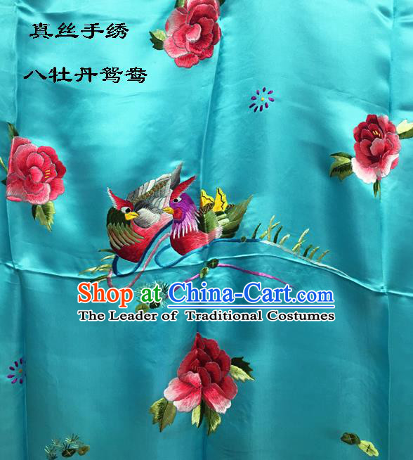 Traditional Asian Chinese Handmade Embroidery Mandarin Ducks Peony Quilt Cover Silk Tapestry Blue Fabric Drapery, Top Grade Nanjing Brocade Bed Sheet Cloth Material