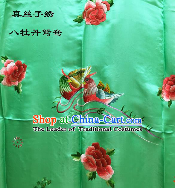 Traditional Asian Chinese Handmade Embroidery Mandarin Ducks Peony Quilt Cover Silk Tapestry Light Green Fabric Drapery, Top Grade Nanjing Brocade Bed Sheet Cloth Material