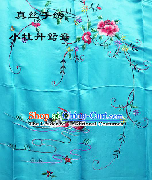 Traditional Asian Chinese Handmade Embroidery Mandarin Ducks Peony Quilt Cover Silk Tapestry Light Blue Fabric Drapery, Top Grade Nanjing Brocade Bed Sheet Cloth Material