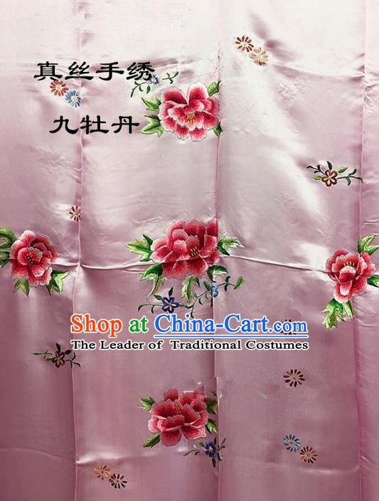 Traditional Asian Chinese Handmade Embroidery Ninth Peony Quilt Cover Silk Tapestry Pink Fabric Drapery, Top Grade Nanjing Brocade Bed Sheet Cloth Material