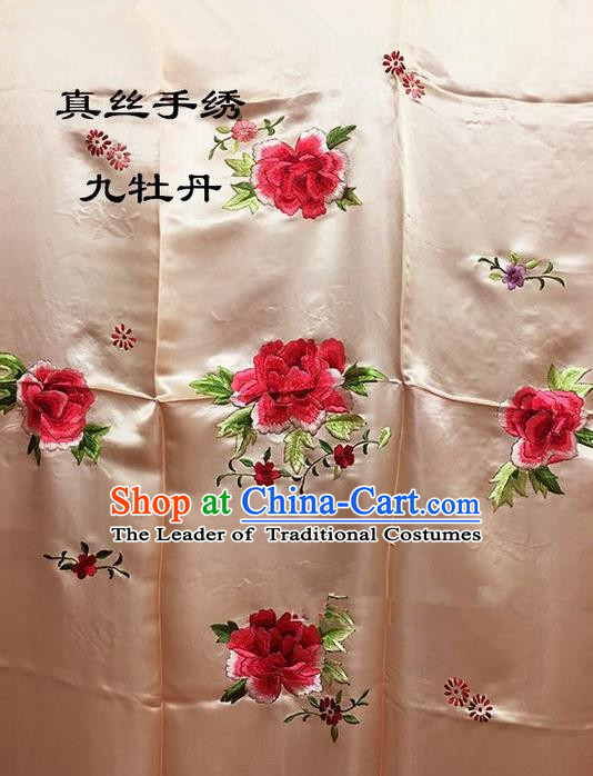 Traditional Asian Chinese Handmade Embroidery Ninth Peony Quilt Cover Silk Tapestry Golden Fabric Drapery, Top Grade Nanjing Brocade Bed Sheet Cloth Material