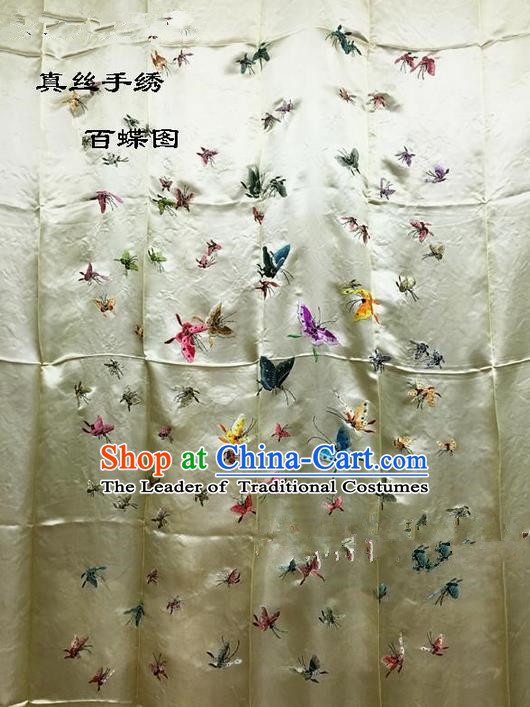 Traditional Asian Chinese Handmade Embroidery Hundred Butterfly Quilt Cover Silk Tapestry Golden Fabric Drapery, Top Grade Nanjing Brocade Bed Sheet Cloth Material