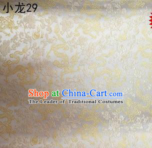 Traditional Asian Chinese Handmade Embroidery Dragons Silk Tapestry Tibetan Clothing Beige Fabric Drapery, Top Grade Nanjing Brocade Cheongsam Cloth Material