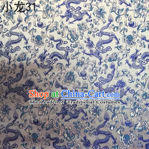Traditional Asian Chinese Handmade Embroidery Blue Dragons Silk Tapestry Tibetan Clothing Fabric Drapery, Top Grade Nanjing Brocade Cheongsam Cloth Material