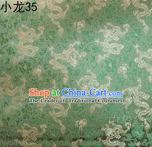 Traditional Asian Chinese Handmade Embroidery Dragons Silk Tapestry Tibetan Clothing Green Fabric Drapery, Top Grade Nanjing Brocade Cheongsam Cloth Material