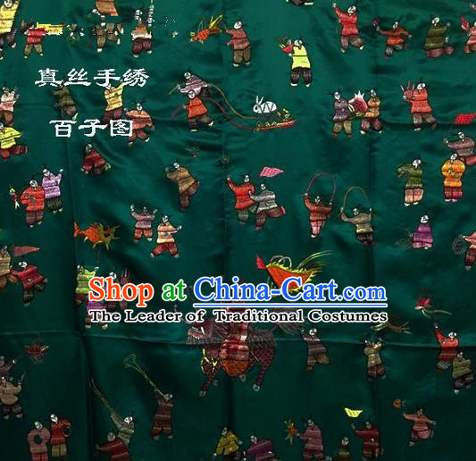 Traditional Asian Chinese Handmade Embroidery Hundred Sons Quilt Cover Silk Tapestry Deep Green Fabric Drapery, Top Grade Nanjing Brocade Bed Sheet Cloth Material