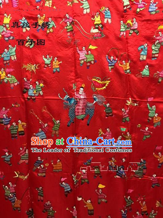 Traditional Asian Chinese Handmade Embroidery Hundred Sons Quilt Cover Silk Tapestry Red Fabric Drapery, Top Grade Nanjing Brocade Bed Sheet Cloth Material