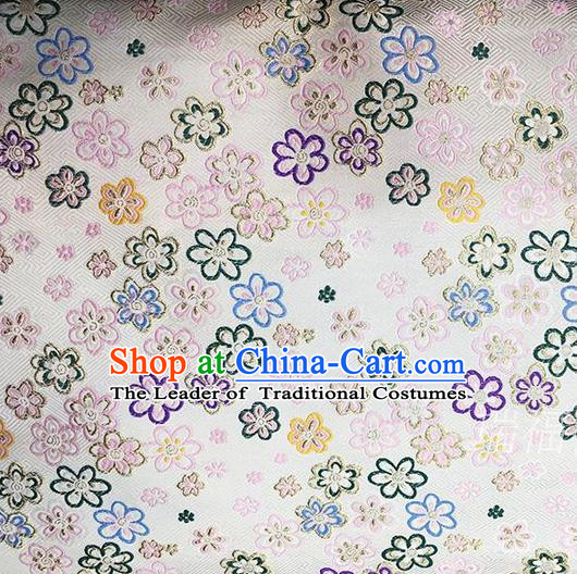 Traditional Asian Chinese Handmade Embroidery Flowers Kimono Silk Tapestry Fabric Drapery, Top Grade Nanjing Brocade Cheongsam Cloth Material