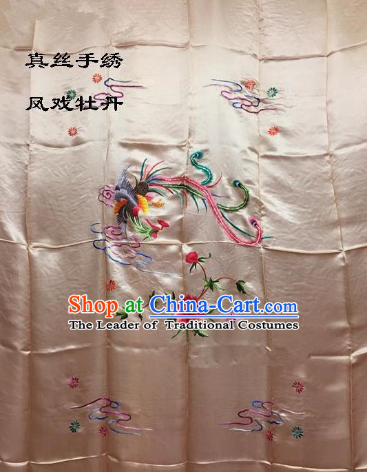 Traditional Asian Chinese Handmade Embroidery Phoenix Peony Quilt Cover Silk Tapestry Light Pink Fabric Drapery, Top Grade Nanjing Brocade Bed Sheet Cloth Material