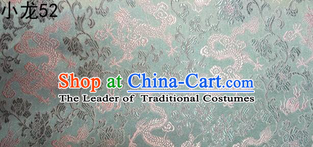 Traditional Asian Chinese Handmade Embroidery Dragons Silk Tapestry Tibetan Clothing Blue Fabric Drapery, Top Grade Nanjing Brocade Cheongsam Cloth Material