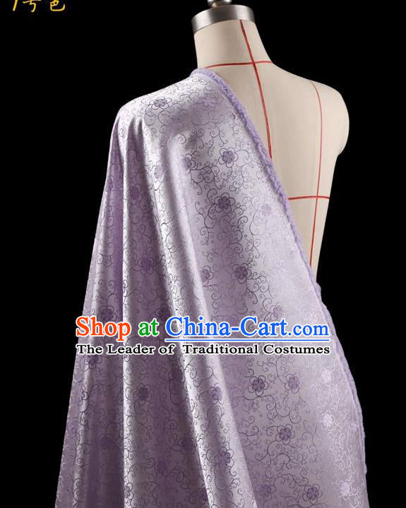 Traditional Asian Chinese Handmade Embroidery Flowers Dress Silk Tapestry Lilac Fabric Drapery, Top Grade Nanjing Brocade Ancient Costume Cheongsam Cloth Material