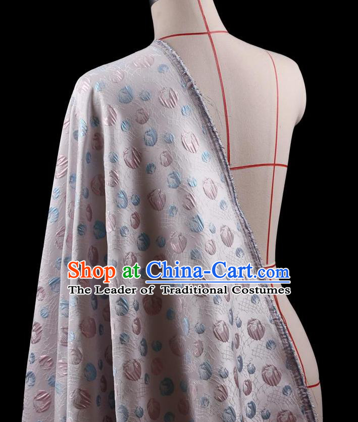 Traditional Asian Chinese Handmade Embroidery Flowers Coat Silk Tapestry Lilac Fabric Drapery, Top Grade Nanjing Brocade Ancient Costume Cheongsam Cloth Material