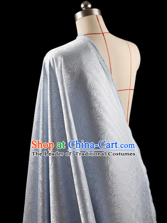 Traditional Asian Chinese Handmade Embroidery Flowers Coat Silk Tapestry Blue Fabric Drapery, Top Grade Nanjing Brocade Ancient Costume Cheongsam Cloth Material
