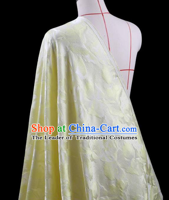 Traditional Asian Chinese Handmade Embroidery Leaf Jacquard Weave Coat Silk Tapestry Yellow Fabric Drapery, Top Grade Nanjing Brocade Ancient Costume Cheongsam Cloth Material