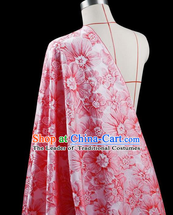 Traditional Asian Chinese Handmade Embroidery Flower Jacquard Weave Dress Silk Tapestry Pink Fabric Drapery, Top Grade Nanjing Brocade Ancient Costume Cheongsam Cloth Material