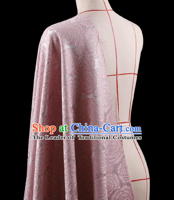Traditional Asian Chinese Handmade Embroidery Rose Flower Jacquard Weave Coat Silk Tapestry Pink Fabric Drapery, Top Grade Nanjing Brocade Ancient Costume Cheongsam Cloth Material
